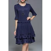 Vintage Blue Round Neck Half Sleeves Pleated Dress