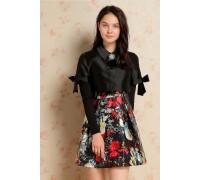 Black Floral Print Two Piece Dress