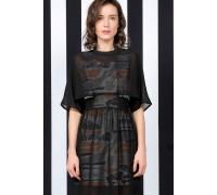 Black Print See-Through Dress