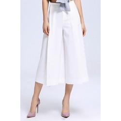 White High Waist Wide Leg Pants