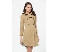Beige Fashion Long Sleeves Trenchcoat