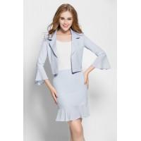 Formal Light Blue Two-piece Dress Set