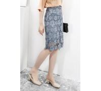 Blue Lace Knee Length Floral Skirt