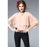 Cute Pink Batwing Sleeves Blouse