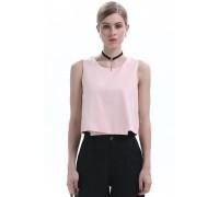 Simple Pink Sleeveless Blouse