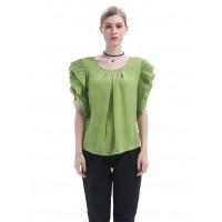 Green Flutter Sleeves Chiffon Blouse