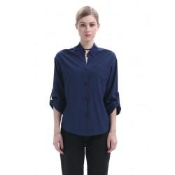 Blue Long Sleeves Blouse