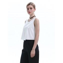 Simple White Sleeveless Blouse