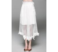 Elegant White Lace Hemmed Double-Layer Skirt